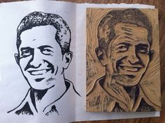 Dribbble - Block print portrait by Leonel Toribio