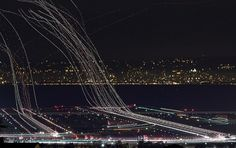 Colossal | art + design #lines #lights #exposure #long #airport #airplanes
