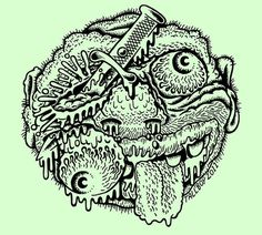 "TALLBOY, ""BOOGER FACE"" available in a 4 piece print set and... #ink #swamp #pen #and #wizards"