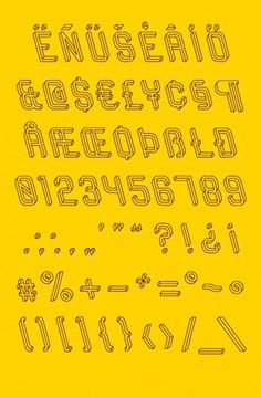 Frustro: The Impossible Typeface | Jeannie Huang #yellow #outline #typography