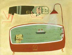 Matte Stephens #illustration #ship #bath #dog