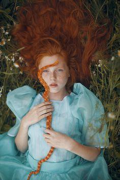 Mythical Portraits Feature Wild Animals by Katerina Plotnikova My Modern Metropolis #girl #grass #snake #portrait #nature #ginger