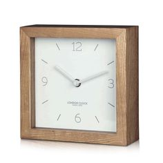 London Clock Company 'Tid' Mantel Clock, White and Wood, 16cm x 16cm x 5cm