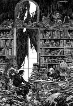 ilustración detallada de biblioteca dibujada por Bernie Wrightson para el comic de frankstein