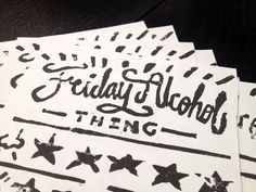 Friday Alcohol Celebration #print #ink #linocut #weekend