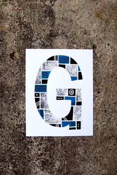 The Letter G #print #typography #type #alphabet #blue #screenprint #screen print #letter