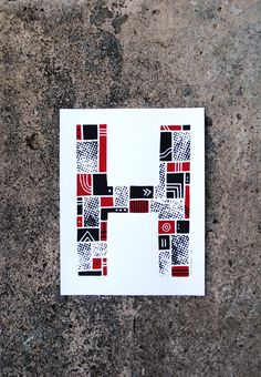 The Letter H #red #print #screenprint #screen #letter #alphabet #type #typography