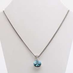 White gold necklace with aquamarine and diamonds,