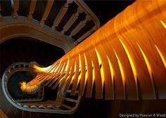 Wooden Light Sculpture by Mike Vanbelleghem helix modular lamp