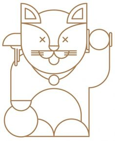 Maneki-neko #illustration #vector #cat #outline #lucky #maneki #neko