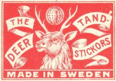 vintage matchbook branding #sweden #red #branding #design #vintage #moose #matchbook