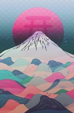 """Dreaming of Japan"" #Japan #Fuji #illustration #design #kids #decor #birds #moon #nature #art"