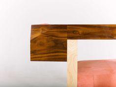 ArmChair Pink Creamson Fly Massive MIllworks #armchair #interior #furniture #modernism #wood #walnut #maple #pink #constructivism #woodwork