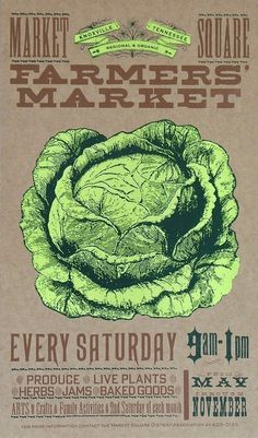 FARMERS MARKET CABBAGE or Lettuce Fresh Produce Hand Printed Letterpress Poster #haw #letterpress #poster #yee