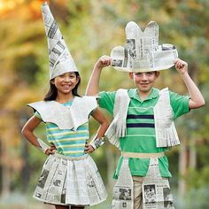 Newspaper Fashion Costume #costume #makeup #newspaper #diy #paper
