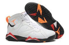 Nike Air Jordan Retro Shoes 7 White Black Orange Cheap jordan shoes outlet online store