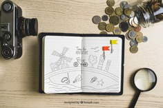 Paper with coins and camera Free Psd. See more inspiration related to Mockup, Vintage, Travel, Money, Paper, Camera, Retro, World, Mock up, Glass, Drawing, Adventure, Decorative, Magnifying glass, Tourism, Vacation, Cash, Trip, Holidays, Coins, Magnifier, Journey, Up, Vintage paper, Traveling, Vintage retro, Traveler, Explore, Magnifying, Worldwide, Composition, Mock and Touristic on Freepik.