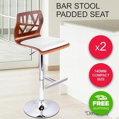 2x PU Leather Wooden Cafe Kitchen Bar Stool Gas Lift Chair Padded Seat White-buy-now-cheap-price-australia-30