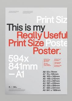 Really Useful Poster Series Pt.1 on the Behance Network #sizes #print #design #poster