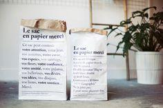 Merci paper folding bag #branding #merci #paperbag #paper #typography