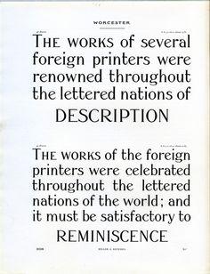 Miller and RIchard Worcester type specimen. #type #specimen #typography