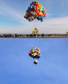 National Geographic launches a small house into... #helium #house #balloons