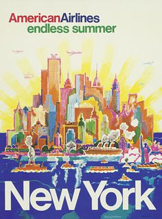 AA, airline, poster, illustration, summer