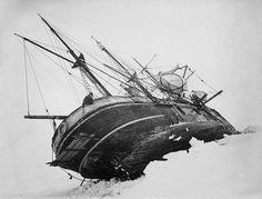 ship, ice, stuck, vintage, antique, photo, photography