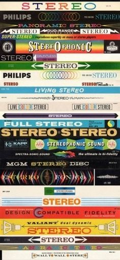 In Stereo banners from LPs - Boing Boing #60s #packaging #retro #stereo #vinyl #50s