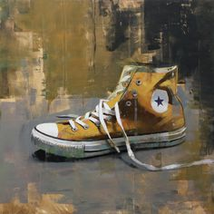 converse note in orange | oil on panel | 40 x 40 cm