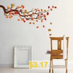 KM224 #Personality #Creative #Branch #Maple #Leaf #Self-adhesive #Wall #Sticker #- #MULTI