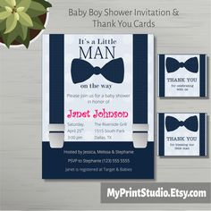 Printable Baby Shower #Invitation template for Boy created in Microsoft Word with matching Thank You cards. This is a Shower Card Template e