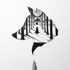 The little red riding hood Johann Lucchini @yopich #drawing #blackandwhite #illustration #ink #thelittleredridinghood