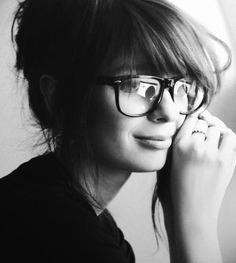Likes | Tumblr #portrait #glasses #black and white #woman #grey #smile