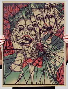 creepy-batman-art-by-godmachine-joker #smash #glass #illustration #painting #cracked #joker