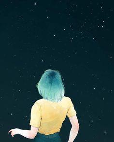 Adara Sánchez #illustration #stars #bluehair #girl