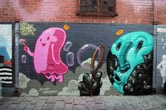 """Summer Bubbles"" Spray paint on concrete, Artist Lane, Melbourne, Australia #inspiration #art #street"