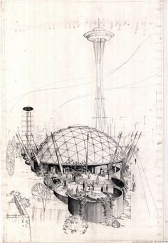Under+the+geodesic+dome+of+the+Ford+Pavilion,+visitors+were+entertained+by+a+simulated+flight+to+outer+space+in+a+model+rocket+ship.jpg (image) #needle #illustration #concept #space