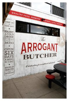 The Arrogant Butcher Design & Ad Work | TunnelBravo #signage #logo #red #gold