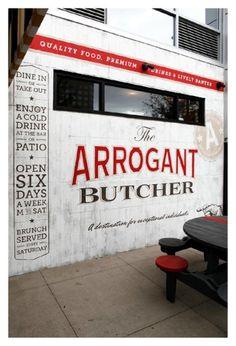 The Arrogant Butcher Design & Ad Work | TunnelBravo #signage #logo #red #gold