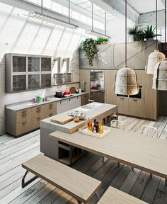 Loft Style Kitchen Design by Michele Marcon - #kitchen, #kitchens, kitchen ideas, kitchen design