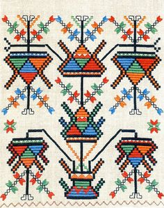 Ukrainian Space Invaders - 50 Watts #embroidery #ukranian #pattern