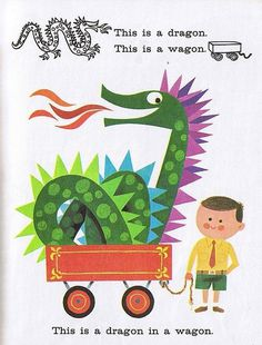 Mid Century Modern Graphic Design #dragon #modern #in #wagon #illustration #mid #century