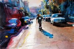 christopher st. leger - many horses #urban #city #painting #street #skateboard #watercolor