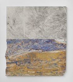 """Sam Moyer """"Lake Country,"""" 2014 marble, ink on canvas mounted to mdf panel"""
