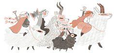 Amélie Fléchais #march #illustration #procession #animals