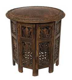 Handcrafted Round Coffee Table in Antique Brown