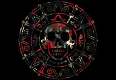 The classic Aztec symbol from Pirates of the Caribbean, with a floral print.