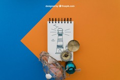 Beach items with notepad on orange and blue background Free Psd. See more inspiration related to Background, Mockup, Travel, Summer, Paper, Blue, Beach, Orange, Bottle, Mock up, Drawing, Rope, Compass, Adventure, Decorative, Tourism, Vacation, Trip, Holidays, Notepad, Journey, Up, Traveling, Items, Composition, Mock, Summertime and Touristic on Freepik.