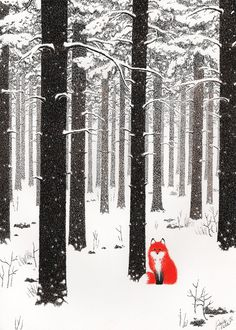 Paula Mela Illustration #fox #woods #orange #snow #contrast #forest #winter